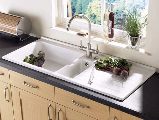 Jersey 1.5 bowl sit-in ceramic kitchen sink with right hand drainer ...