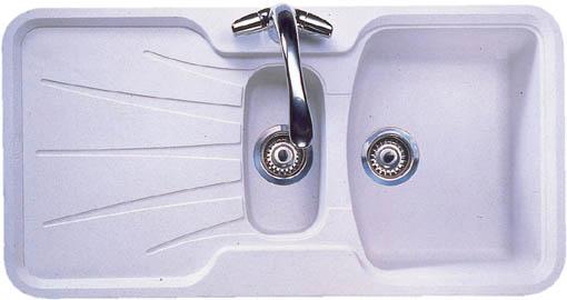 Korona 1.5 bowl granite rok opal white composite kitchen sink ...