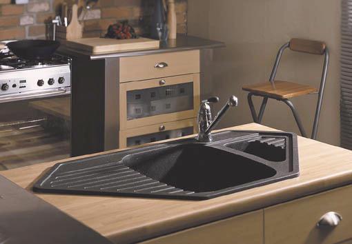 Vector 1 5 Bowl Black Composite Corner Kitchen Sink Additional Image