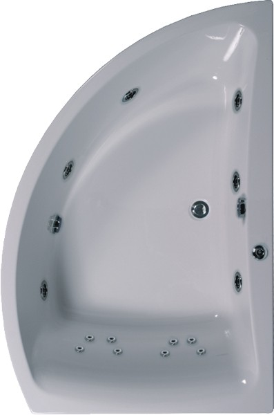Aquamaxx Corner Whirlpool Bath. 14 Jets. Right Handed. additional image