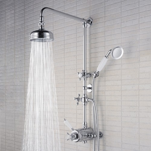 Traditional Thermostatic Shower Valve With Rigid Riser, Chrome. Additional  Image