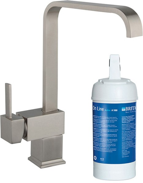 Megan Kitchen Tap With Brita On Line Filter Kit Brushed