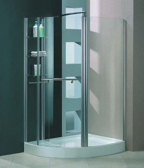 Milano unique right handed offset quadrant shower for Shower cubicle shelves