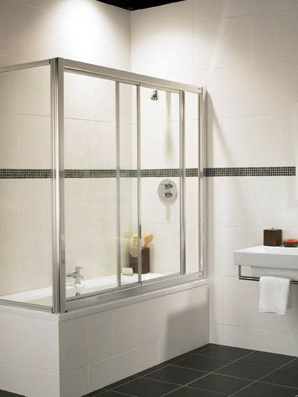 Coral Overbath Sliding Screen And End Panel With Chrome Frame Image C Overbaths Truerooms Com