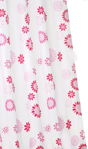 Shower Curtain & Rings (Pop Flowers Pink, 1800mm). additional image