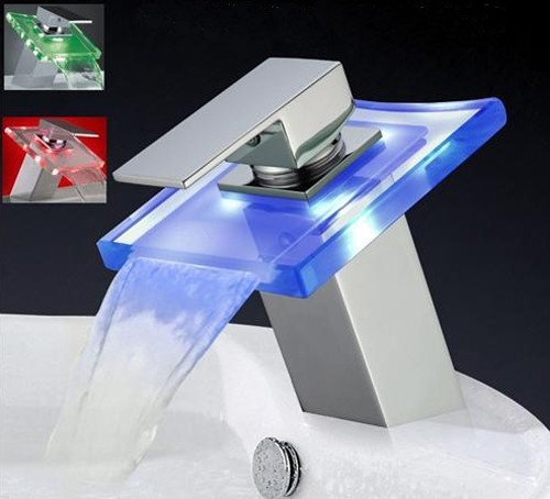 Square Glass Waterfall Basin Tap With LED lights (Chrome). additional image