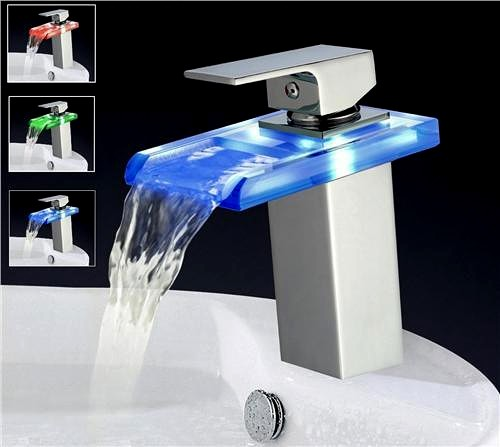 Rectangular Glass Waterfall Basin Tap With LED lights (Chrome). additional image