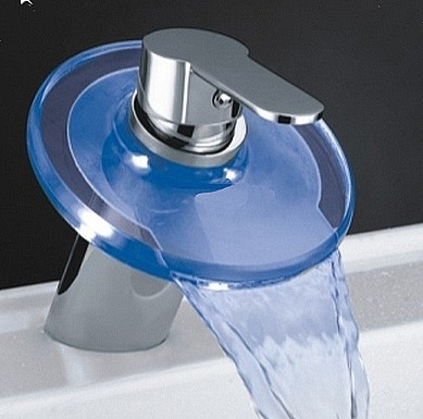 Round Glass Waterfall Basin Tap With LED lights (Chrome). additional image