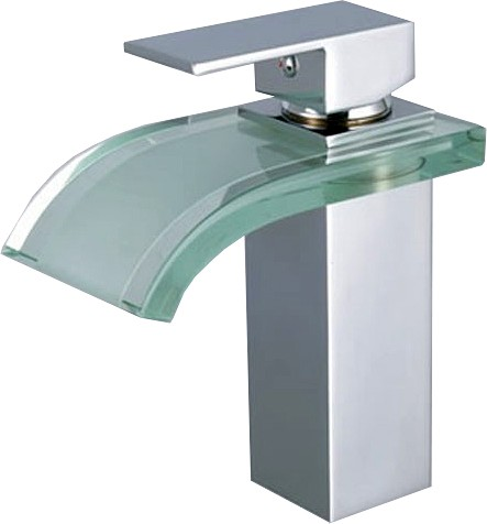 Glass Waterfall Basin Tap With Curved Spout (Chrome). additional image