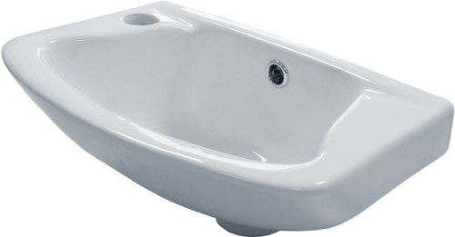 Wall Hung Basin & Brackets (1 Tap Hole).  Size 360x262mm. additional image