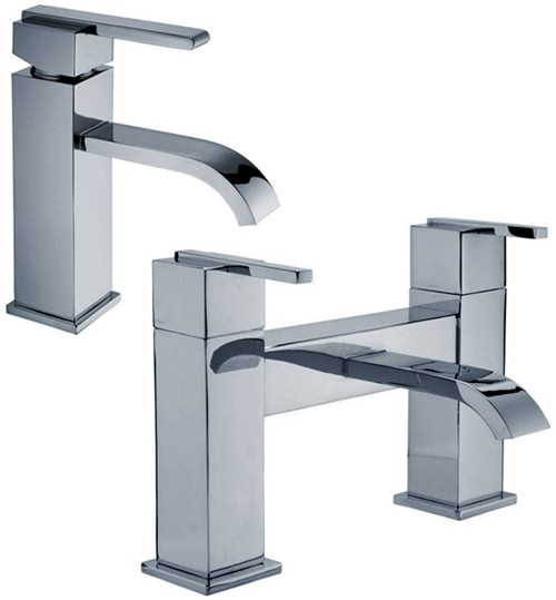 Basin Mixer & Bath Filler Tap Set (Chrome). additional image