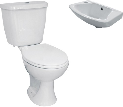 3 piece bathroom suite with toilet small basin hydra hi for Tiny 3 piece bathroom