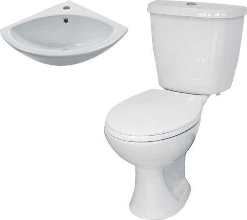 3 Piece Bathroom Suite With Toilet & Corner Basin. additional image