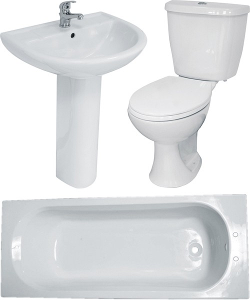 Bathroom Suite With Toilet, Basin, Pedestal & Bath (2 Tap Hole Bath). additional image