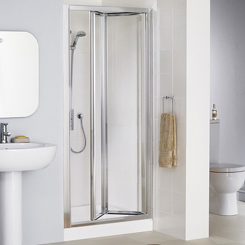 800mm framed bi fold shower door silver lakes classic
