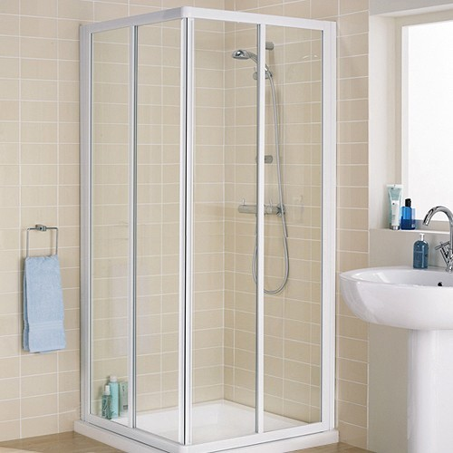 800mm Square Shower Enclosure & Tray (White). additional image