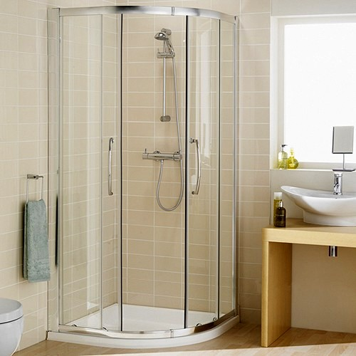 800mm Quadrant Shower Enclosure & Tray (Silver). additional image