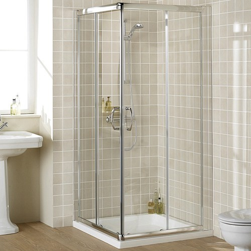 1000mm Square Shower Enclosure & Tray (Silver). additional image