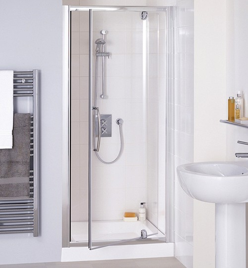 750mm Semi-Frameless Pivot Shower Door (Silver). additional image