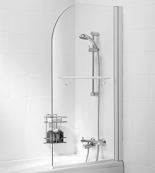 800x1400 Curved Bath Screen With Towel Rail (White). additional image
