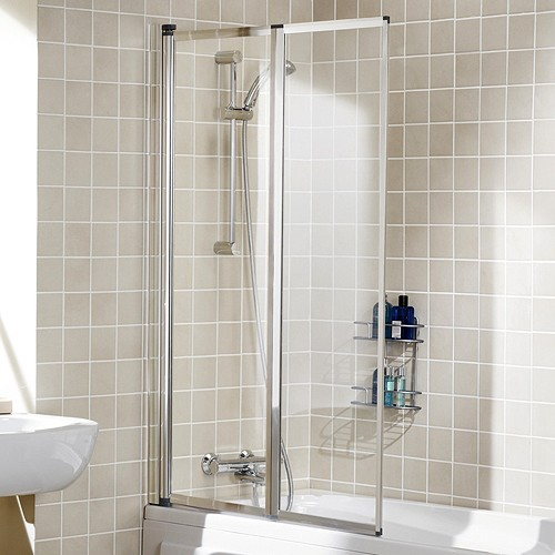 950x1400 Framed Bath Screen With 2 Folding Panels Silver