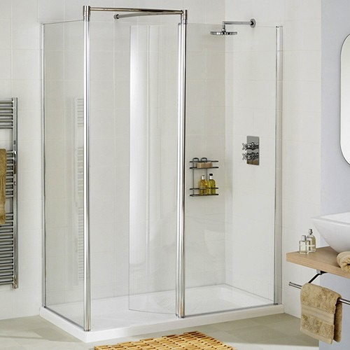 Left Hand 1600x800 Walk In Shower Enclosure & Tray (Silver). additional image