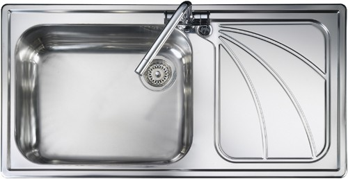 1.0 bowl stainless steel kitchen sink with right hand drainer ...