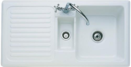 1.5 Bowl Ceramic Kitchen Sink, Left Hand Drainer. Rangemaster ...