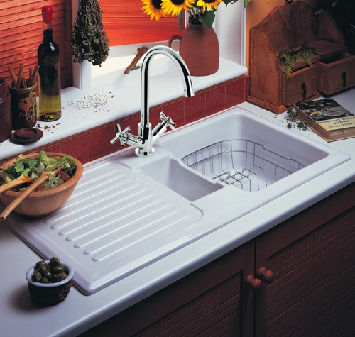 ceramic kitchen sink with drainer 1 5 bowl ceramic kitchen sink left drainer 8090