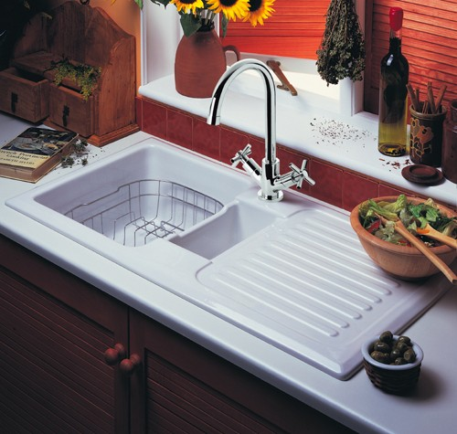 Rangemaster Kitchen Sinks 15 bowl ceramic kitchen sink right hand drainer rangemaster 15 bowl ceramic kitchen sink right hand drainer additional image workwithnaturefo