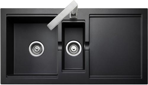 1 5 Bowl Granite Onyx Finish Kitchen Sink Reversible