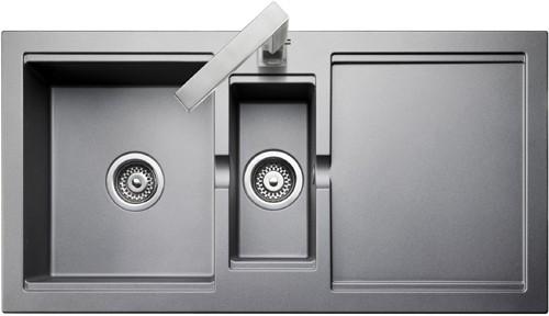 1.5 bowl granite silver finish kitchen sink. Reversible ...