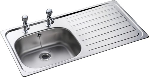 Lexin 1.0 bowl stainless steel kitchen sink with right hand drainer ...