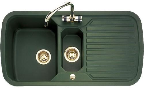 1.5 Bowl Green Sink With Brass Tap & Waste. Rangemaster RangeStyle ...