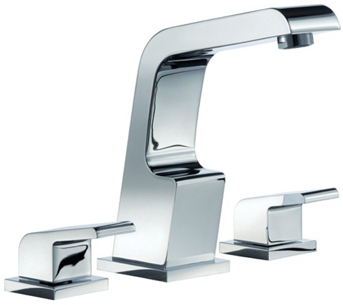 3 Tap Hole Basin Mixer Tap With Click Clack Waste Chrome