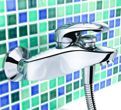Wall Mounted Bath Shower Mixer Tap With Kit Chrome Additional Image