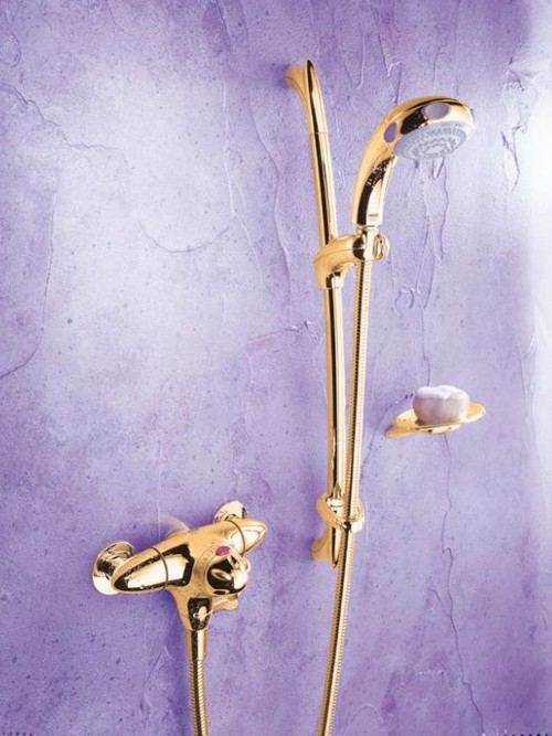 Exposed Thermostatic Shower Kit with Slide Rail in Gold. Mira Fino ...