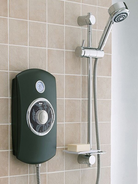 9 8kw Thermostatic Electric Shower With Lcd Black Mira