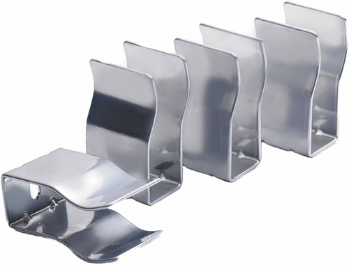 4 x Horizontal Radiator Brackets (High Gloss Silver). additional image