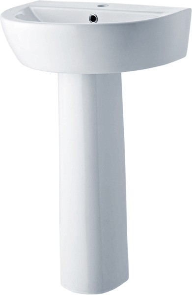 Solace 610mm Basin & Pedestal (1 Tap Hole). additional image