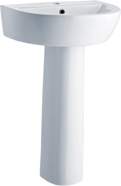 Solace 550mm Basin & Pedestal (1 Tap Hole). additional image