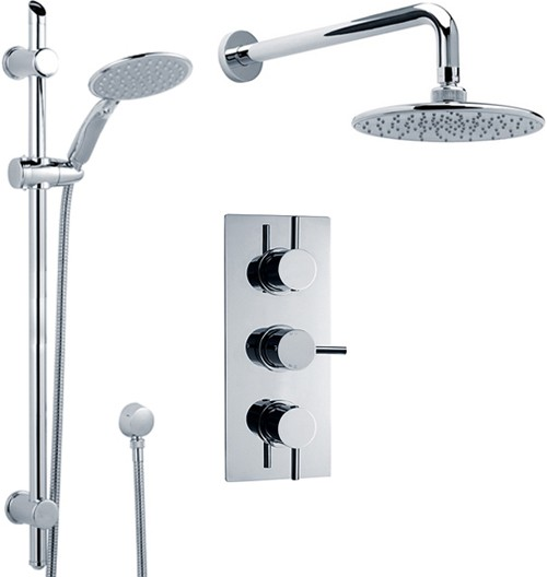 Triple Thermostatic Shower Valve, Slide Rail Kit, Head & Arm. additional image