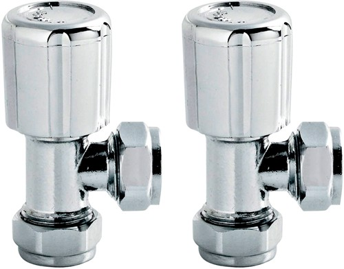Angled Radiator Valves (Pair, Chrome). additional image