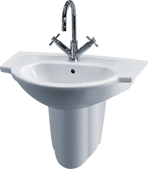 Linton 600mm Wall Hung Basin & Semi Pedestal (1 Tap Hole). additional image