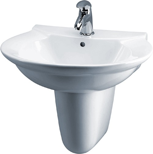 Otley 600mm Wall Hung Basin & Semi Pedestal (1 Tap Hole). additional image