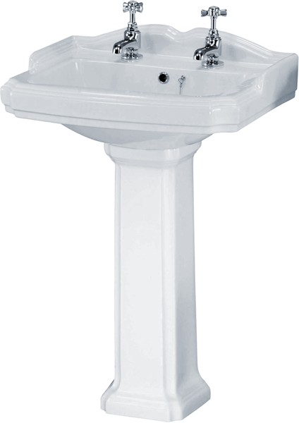 Legend 580mm Basin & Pedestal (2 Tap Holes). additional image