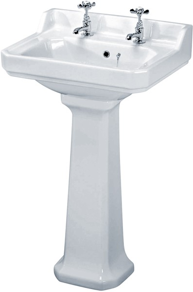 Carlton 560mm Basin & Pedestal (2 Tap Holes). additional image
