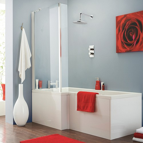 Square Shower Bath With Screen & Panels (Left Handed). additional image