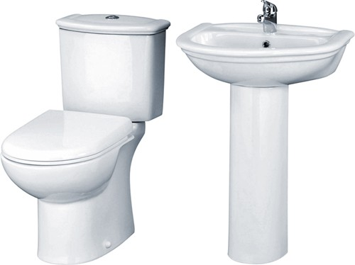 Barmby 4 Piece Bathroom Suite With Toilet, Seat & 600mm Basin. additional image