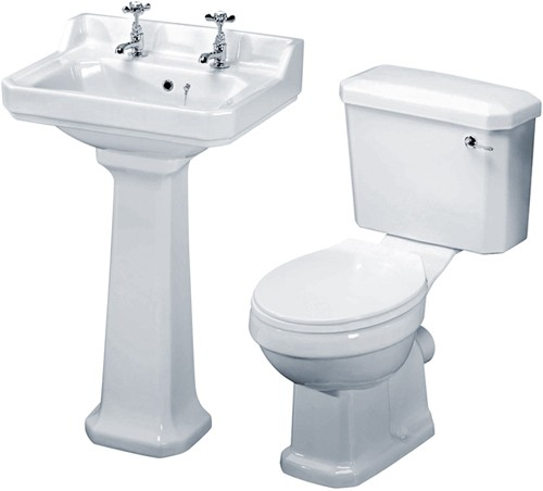 Carlton 4 Piece Bathroom Suite, 560mm Basin (2 Tap Holes). additional image